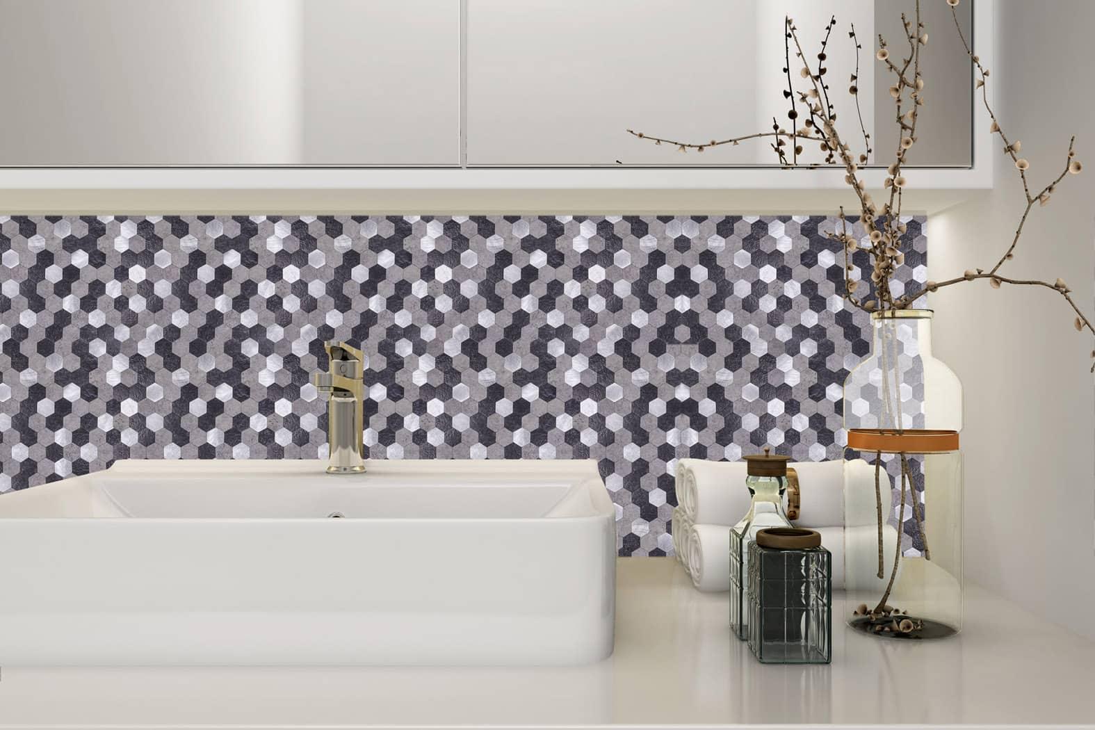 Mosaikfliese Dunkles Aluminium